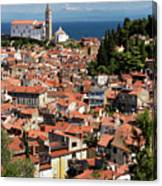 Aerial View Of Piran Slovenia With St George's Cathedral On The  Canvas Print