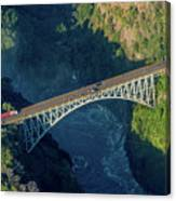 Aerial View Of Victoria Falls Suspension Bridge Canvas Print