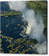 Aerial View Of Victoria Falls With Bridge Canvas Print