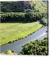 aerial view of Wailua River Canvas Print
