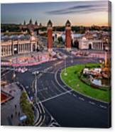 Aerial View On Placa Espanya And Montjuic Hill With National Art Canvas Print