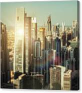 Aerial View Over Dubai's Towers At Sunset.  Canvas Print
