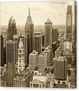 Aerial View Philadelphia Skyline Wth City Hall Canvas Print
