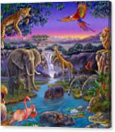 African Animals At The Water Hole Canvas Print