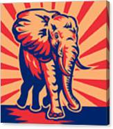 African Bull Elephant Charging Retro Canvas Print
