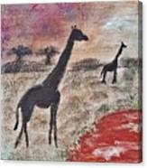 African Landscape Giraffe And Banya Tree At Watering Hole With Mountain And Sunset Grasses Shrubs Sa Canvas Print