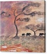African Landscape Three Elephants And Banya Tree At Watering Hole With Mountain And Sunset Grasses S Canvas Print