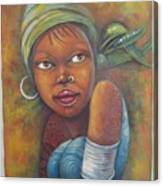 African Woman Portrait- African Paintings Canvas Print