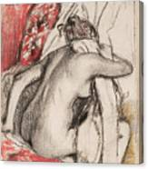 After The Bath Seated Woman Drying Herself Canvas Print