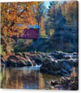 Afternoon Autumn Sun On Vermont Covered Bridge Canvas Print