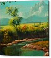 Afternoon By The River With Peaceful Landscape L B Canvas Print