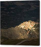 Afternoon Sun Lighting Up Village Of Speloncato In Corsica Canvas Print
