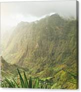 Agave Plants And Rocky Mountains. Santo Antao. Canvas Print
