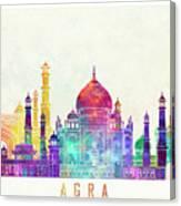 Agra Landmarks Watercolor Poster Canvas Print