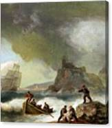 Ailing Ships On Rocks Canvas Print