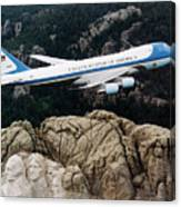 Air Force One Flying Over Mount Rushmore Canvas Print