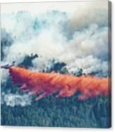 Air Tanker On Crow Peak Fire Canvas Print