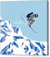 Airborn Skier Flying Down The Ski Slopes Canvas Print