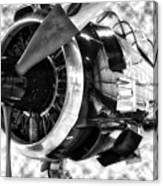 Airplane Propeller And Engine T28 Trojan 02 Bw Canvas Print