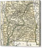 Alabama Antique Map 1891 Canvas Print