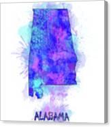 Alabama Map Watercolor 2 Canvas Print