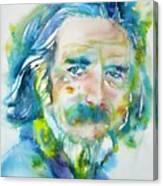 Alan Watts - Watercolor Portrait.4 Canvas Print