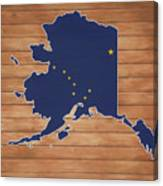 Alaska Map And Flag On Wood Canvas Print