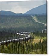 Alaska Pipeline Heading South Thru Canvas Print