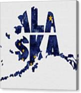 Alaska Typography Map Flag Canvas Print