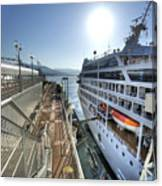 Alaskan Cruise Ship Berthed In Vancouver Canvas Print