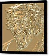 Albert Sticks Out His Tongue 24 Kt Gold 4  Canvas Print