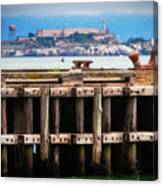 Alcatraz Beyond The Pier Canvas Print