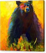 Alert - Black Bear Canvas Print