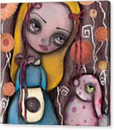 Alice And The Pink Bunny Canvas Print