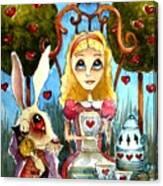 Alice And The Rabbit Having Tea... Canvas Print