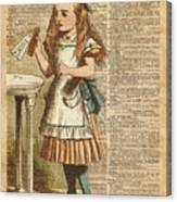 Alice In Wonderland Drink Me Vintage Dictionary Art Illustration Canvas Print