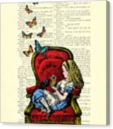 Alice In Wonderland Playing With Cute Cat And Butterflies Canvas Print