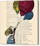 Alice In Wonderland With Big Colorful Balloons Canvas Print