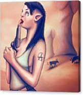Alien Elf Punk Girl Licking The Gun Barrel Canvas Print