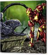 Alien Vs Iron Man Canvas Print