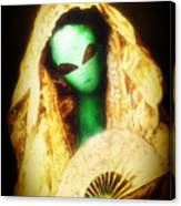 Alien Wearing Lace Mantilla Canvas Print