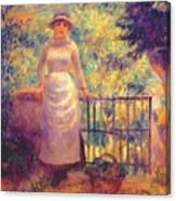 Aline At The Gate Girl In The Garden 1884 Canvas Print