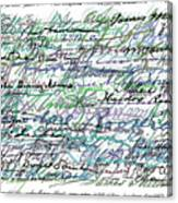 All The Presidents Signatures Teal Blue Canvas Print