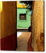 Alley With The Green Casa Canvas Print