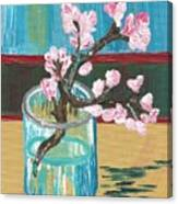 Almond Blossoms In A Glass Canvas Print