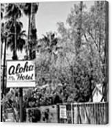Aloha Hotel Bw Palm Springs Canvas Print