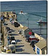 Along The South Pier - Newquay Harbour Canvas Print