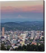 Alpenglow Over Portland Oregon Cityscape Canvas Print