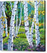 Alpine Flowers And Birches  Canvas Print