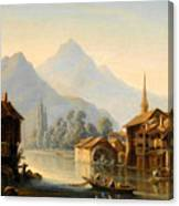 Alpine Lake Scenery With City View Canvas Print